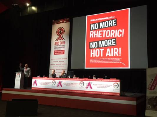 "Central Demand of ""Access Equity/Rights Now"" Vocalised on Opening Day of AIDS2016 Durban"
