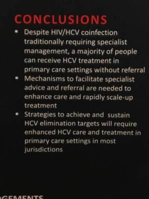 Managing HIV / HepC; Sofosbuvir / Velpatasvir effective with management well suited to primary care settings.